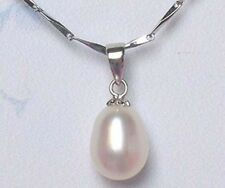 18KGP 925 sterling silver genuine 9-10mm freshwater pearl pendant(2 options)