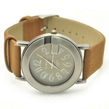 NEW Fashion Round Face Leather Band Lady Woman Girl Quartz Clock Wrist Watch