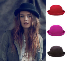 Fashion Vintage Wool Trendy Women Men Bowler Derby Hats Cap Cloche Costume Party