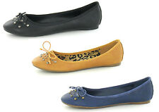 LADIES SPOT ON FLAT CASUAL SLIP ON BALLET PUMP SHOES F8864 STUD DETAIL & BOW