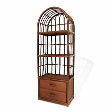 RATTAN RACK BOOKCASE DISPLAY W/ TWO DRAWERS NATURAL WICKER FURNITURE HOME DECOR