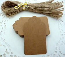 10/25/50 Scalloped Paper Tags Price Tag with String 4 x 7cm Crafts Gifts