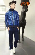 New Mens Cool Bling Sequined Casual Sports Sweatshirt Suit Jacket and Pants Blue