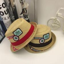 New Summer Kids Children Fedora Straw Brim Cap Sun Jazz Hat Hats for Boys Girls