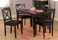 5Pc Black or White Wood Dining Room Kitchen Breakfast Table Chairs Furniture Set