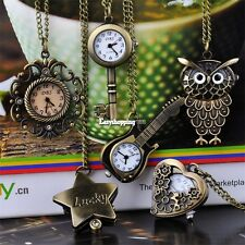 Cute Antique Style Bronze Steampunk Quartz Necklace Pendant Chain Pocket Watch