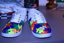 Women's Autism Awareness Canvas Shoes Hand Drawn Special Order