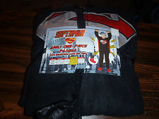 Superman Black Costume Adult Licensed Union Suit Pajama NEW With Tags