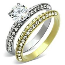 Best Seller 0.75 Ct Two-Tone Gold over Stainless Steel Wedding RING SET SZ 5-10