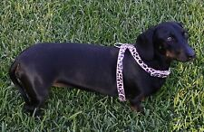 Dog Harness Pink Leopard Adjustable S M - Walking Pet Puppy Collar Comfort