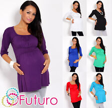 ♥ Women's Maternity Tunic ♥ 3/4 Sleeve Scoop Neck Top Pregnancy Sizes 8-18 5006