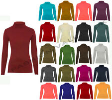 POLO NECK TOP STRETCH LADIES ROLL NECK LONG SLEEVE TURTLE NECK TOP JUMPER 8-14