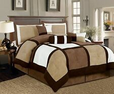 7 Pieces Beige & Brown Suede Patchwork Comforter Bedding Set Size Washable King