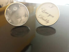 CUFFLINKS MENS ANY PHOTO PICTURE WORDS DADS DADDY  BIRTHDAY GIFT PERSONALISED