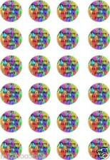 24x PRECUT PERSONALISED THANK YOU COMING TO MY PARTY RICE PAPER CUP CAKE TOPPERS