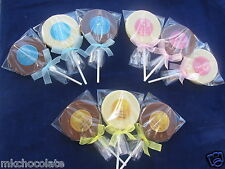 PERSONALISED BABY SHOWER CHOCOLATE LOLLIPOPS/SWEETS FAVOURS PARTY BAG FILLERS