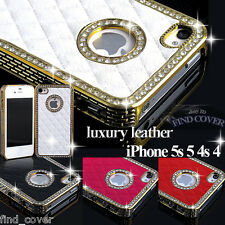 New iPHONE 5S 5 4S 4 - LUXURY LEATHER DIAMOND  CASE GLITTER BLING  BACK COVER