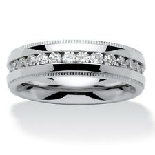 Men's 1.12 TCW Round Cubic Zirconia Eternity Band in Stainless Steel