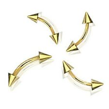 """1pc.16g, 14g~5/16"""", 3/8"""" Gold Plated 316L Steel Spikes Curved Eyebrow Barbell"""