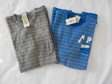 New Men's Abercrombie & Fitch Striped T-Shirts Sizes M (Gray) & XL (Blue) - NWT