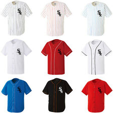 Chicago White Sox Stripe Baseball Jersey Dry fit Tshirts Sport Wear Top Open Tee