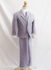 Gray Silver boy infant toddler teen youth formal suit graduation wedding party