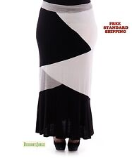 YUMMY PLUS BLACK/GRAY Womens PLUS SIZE Full Length Skirt with Color Block Design