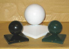 POWDER COATED METAL FENCE / GATE POST CAP WITH BALL TOP - 50mm to 150mm Square