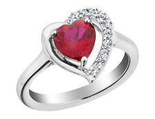 1.70 Ct Created Ruby Heart Ring w/White Sapphire in Sterling Silver w/Chain