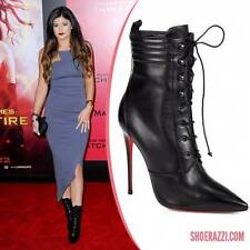Christian Louboutin MADO BOOTY 120 Black Lace Up Ankle Boots Bootie Heels $1595