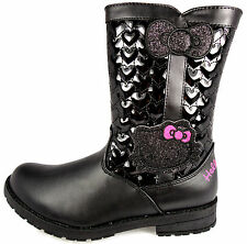 GIRLS HELLO KITTY WINTER WARM BLACK PATENT QUILTED HEART BOOTS