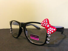 Fashion Hello Kitty Style Glasses Clear Lens Diamond Bow Bowtie Costume Nerdy