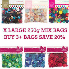 250g Value Bag of Plastic Buttons Assorted Themed Colours Sizes Papermania Craft