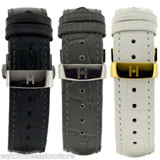 Hirsch DUKE Leather Watch Strap - BLACK GREY or WHITE & Deployment clasp