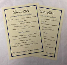 Personalised Wedding Trivia/Game Guest Libs - Many Colour And Designs