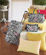 3 Pc Zebra Monogrammed Luggage Set Duffel Tote Toiletry Bags Choose Your initial