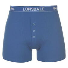 MENS QUALITY LONSDALE COTTON BOXERSHORTS BUTTON FRONT BOXERS ELECTRIC ROYAL BLUE