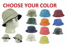 Mens 100% Cotton Fishing Bucket Hat Cap Black Green Blue Brown Beige Navy M L XL