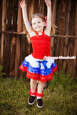 World Cup Red Ruffle Tank Top Baby Girl White Blue Red Ruffle Pettiskirt NB-8Y