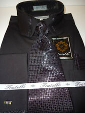 Mens Black French Cuff Dress Shirt, Tie & Hanky New Victorian Style Collar