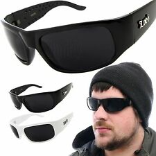 Mens LOCS Sunglasses Sports Gangster Glasses Thug Biker Dark Black Shades