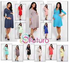 ♥ Sensible Women's Maternity Dress ♥ 3/4 Sleeve V-Neck Pregnancy Sizes 8-16 4400