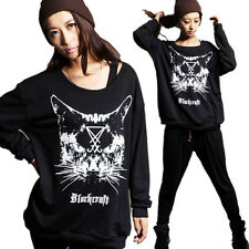 Lady Chic Cat Print Womens Sweatshirt Shirt Casual Loose Round Neck Blouse Tops
