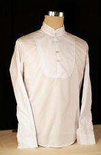 Steampunk-Gothic-Regency-Victorian-Edwardian WHITE GRANDAD STYLE SHIRT all Sizes