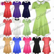 New Womens Collared Flared Franki Short Sleeves Ladies Party Skater Dress Top