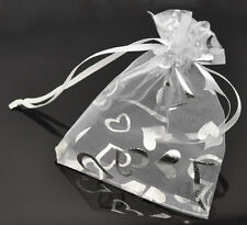 Wholesale HOT! Jewelry Wedding Gift Bags&Pouches White Heart Organza 9x12cm