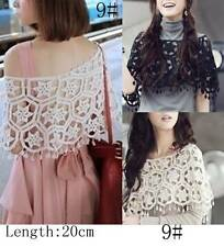 SEXY BOHEMIA VINTAGE CROCHET EYELET LACE SHAWL CROP TOP T098