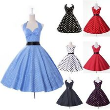 Vintage 50's 60's Formal Party Polka Dot Rockabilly Swing Prom Cocktail Dress