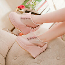 SWEET WOMEN LACE UP WEDGE HIGH HEELS JAPANESE STYLE GRIL CLEAR UPPER PUMPS SHOES
