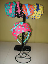 Girl's Beret Hat Headband Polka Dot Silky Fabric Bright Colors One Size ADORABLE